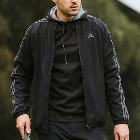 adidas Golf Jacket - Lined Three Stripes FZ - Black AW21