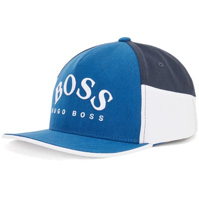 BOSS Golf Cap - Colour Block Curved Logo - Limoges Blue FA21