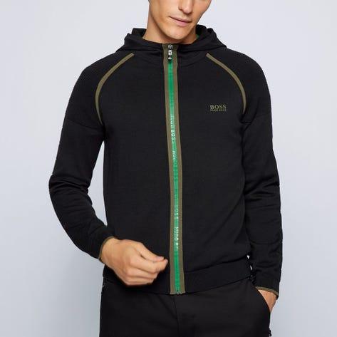 BOSS Golf Jumper - Mogeo Knit Hoodie - Black FA21