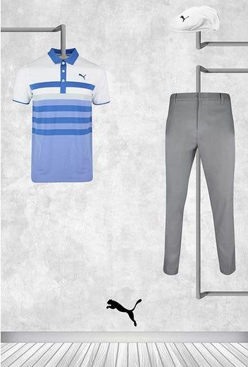 Bryson DeChambeau - Masters Sunday - Blue Stripe PUMA Golf Shirt 2021