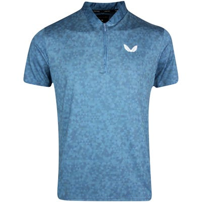 Castore Golf Shirt - AOP Zip Polo - Teal AW21