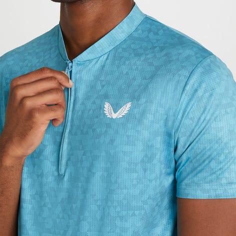 Castore Golf Shirt - AOP Zip Polo - Aqua AW21