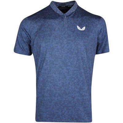 Castore Golf Shirt - AOP Zip Polo - Navy AW21