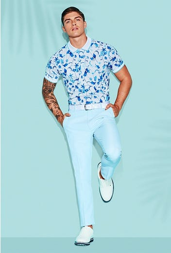 G/FORE - Blue Floral Golf Polo Shirt - Campaign SS21