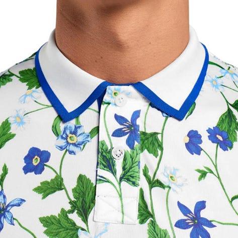 G/FORE Golf Shirt - Floral Polo -  Snow - Basil SS20