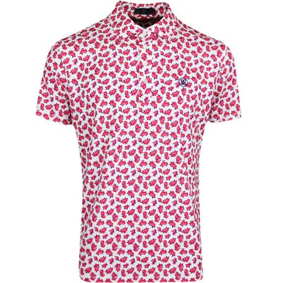 G/FORE Golf Shirt - Abstract Floral Polo - Snow - Peony FA21