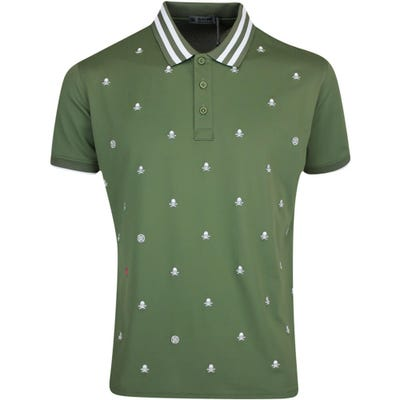 G/FORE Golf Shirt - Skull & T's Embroidered Polo - Olive FA21
