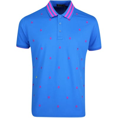 G/FORE Golf Shirt - Skull & T's Embroidered Polo - Racer Blue FA21