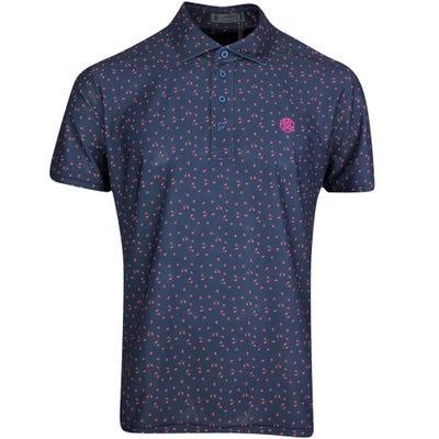 G/FORE Golf Shirt - Micro Floral Polo - Twilight FA21