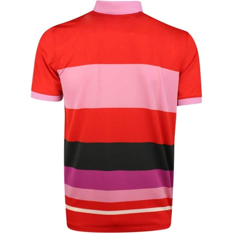 G/FORE Golf Shirt - Variegated Stripe Polo - Poppy Red SS19