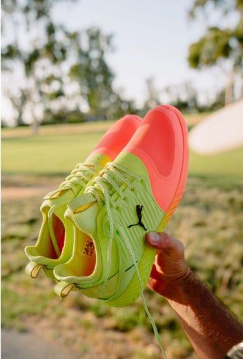 Gary Woodland - Pink Yellow PUMA Golf Shoes - St Jude Invitational