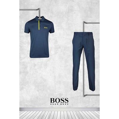 Henrik Stenson - Masters Thursday - Navy Yellow BOSS Golf Shirt 2021