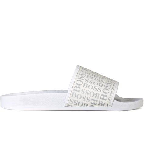 BOSS Sandals - Solar Slider Logo - White SP19