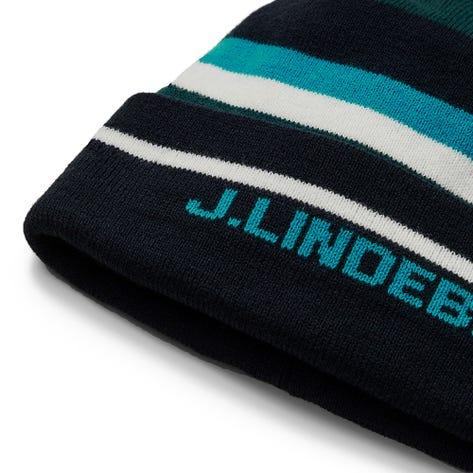 J.Lindeberg Golf Hat - Stripe Beanie - Majolica Blue AW21