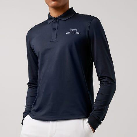 J.Lindeberg Golf Shirt - Bridge LS Regular Fit - JL Navy AW21