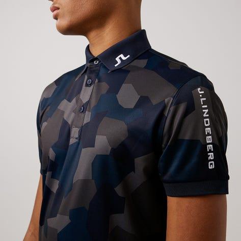 J.Lindeberg Golf Shirt - Tour Tech Regular Print -  Navy Camo AW21