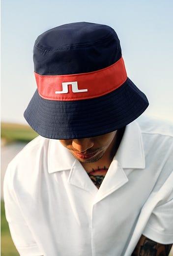 J.Lindeberg - Navy Stripe Bucket Hat - HS21 Campaign