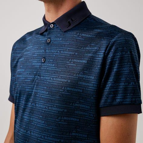 J.Lindeberg Golf Shirt - KV Regular Print - JL HQ Navy AW21