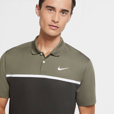 Nike Golf Shirt - NK Dry Victory Colour Block - Medium Olive FA20