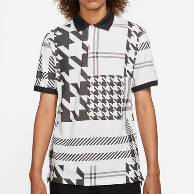 Nike Golf Shirt - Plaid Mash Polo Slim - White - Black FA21