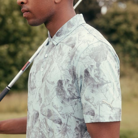 PUMA Golf Shirt - Cloudspun Leaves Polo - Corydalis Blue AW21
