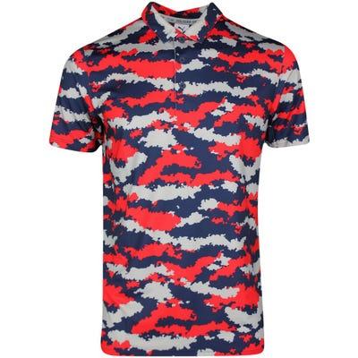 PUMA Golf Shirt - Volition Flanked Camo Polo - High Risk Red SS21