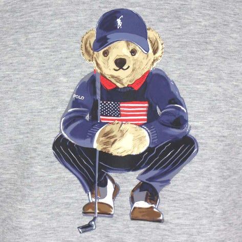 Ralph Lauren POLO Golf Jumper - Bear Logo Crew - Light Grey Htr FA21