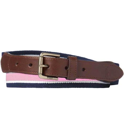 Ralph Lauren POLO Golf Belt - Stretch Web Stripe - Pink SS19