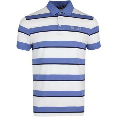 RLX Golf Shirt - Stripe Performance Pique - Bastille Blue PS22