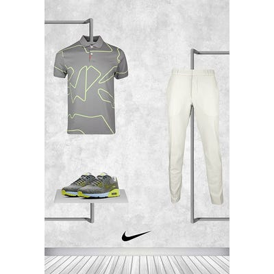 Tommy Fleetwood - Masters Friday - Grey Lime Nike Golf Shirt 2021