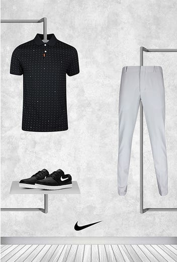 Tony Finau - Masters Saturday - Black Space Dot Nike Golf Shirt 2021