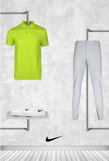 Tony Finau - Masters Sunday - Bright Lime Dotted Nike Golf Shirt 2021