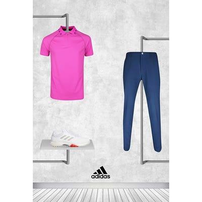 Tyrrell Hatton - Masters Sunday - Bright Pink adidas Zip Golf Shirt 2021
