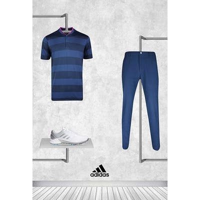 Xander Schauffele - Masters Friday - Navy Pink adidas Golf Shirt 2021