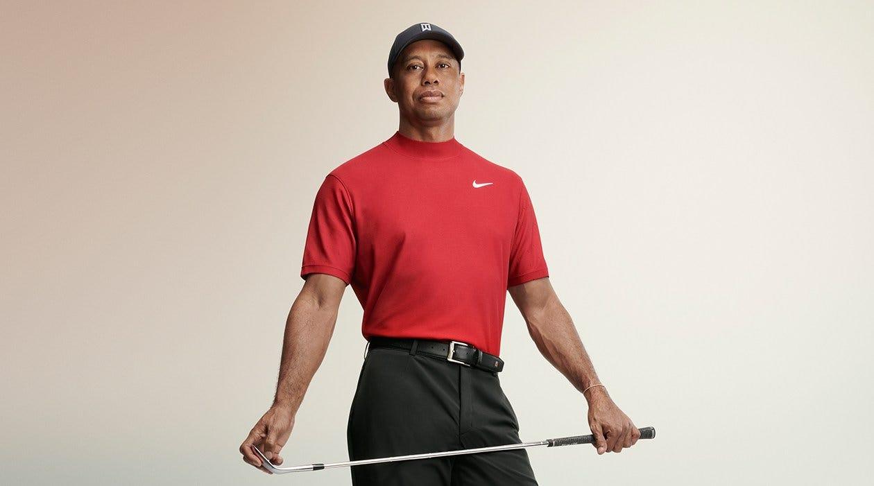 Nike Tiger Woods Sunday Red Mock Neck Golf Shirt