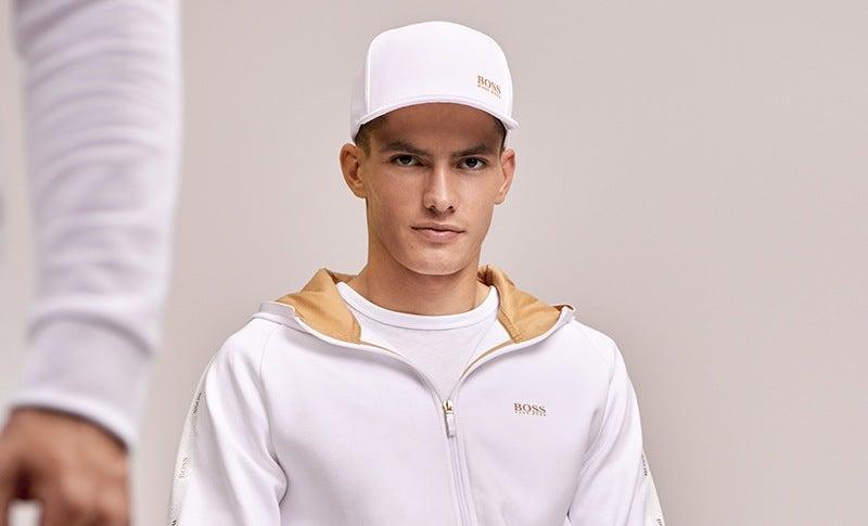 White BOSS Gold Logo Hoodie