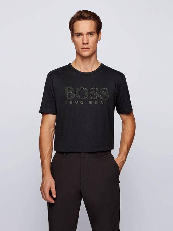 BOSS Tee Shirt Gold Logo Chest