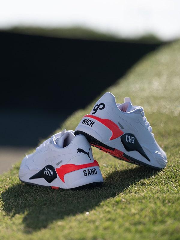 Golfposer Nomad Customs PUMA Golf Claude Harmon White Red