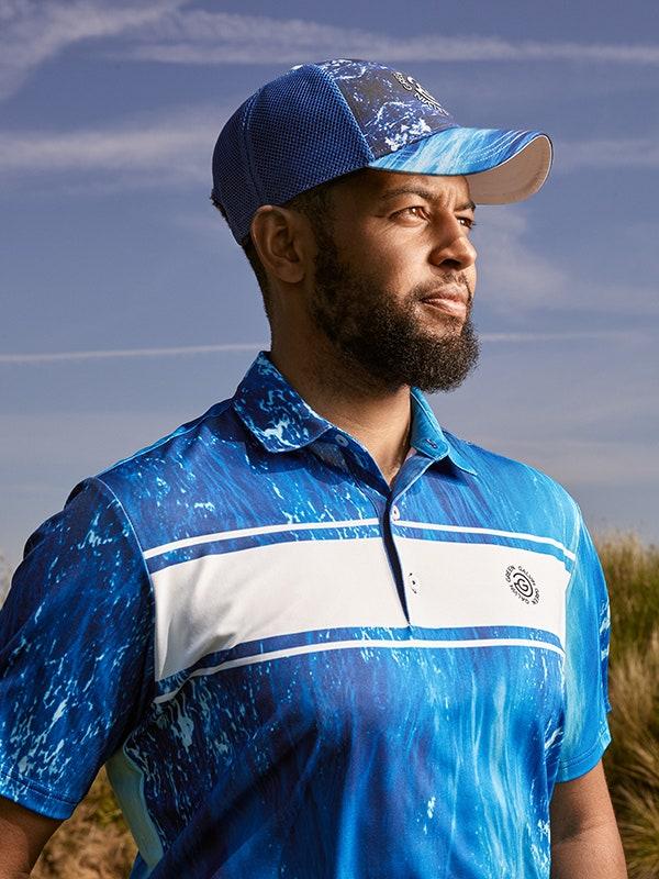 Galvin Green Links Collection Blue Polo Shirt Print Cap