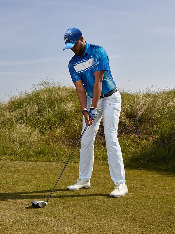 Galvin Green Links Collection Blue Polo Shirt Outfit