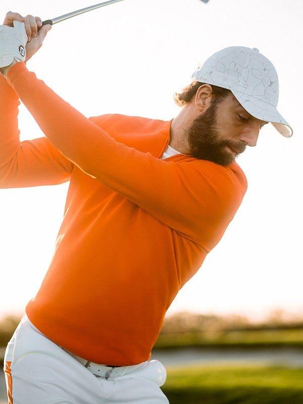 J Lindeberg Orange Golf Jumper