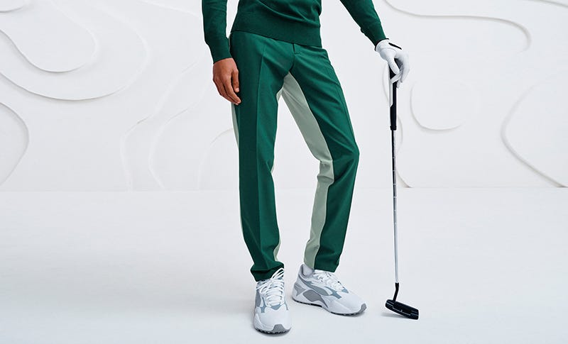 Slim Fit Golf Trousers Two Tone Style