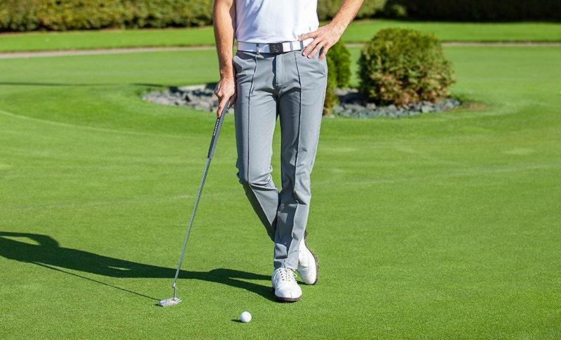 Slim Fit Mens Golf Trousers Grey Heather