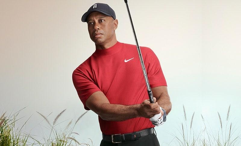 Tiger Woods Red Mock Neck Golf Shirt