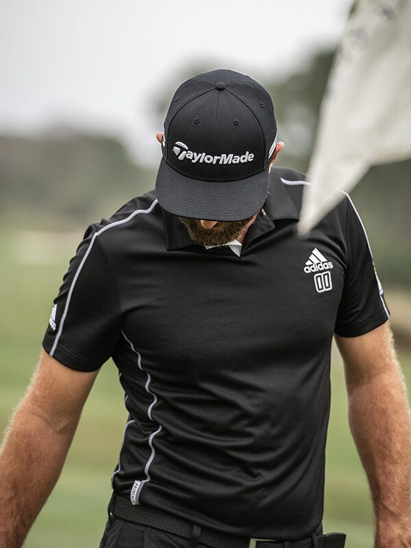 adidas Primeblue golf collection Dustin Johnson Black Golf Shirt